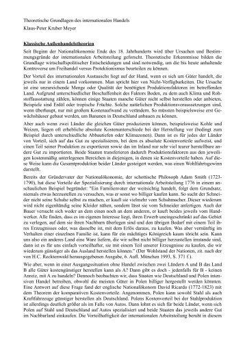 Theoretische Grundlagen des internationalen Handels Klaus-Peter ...