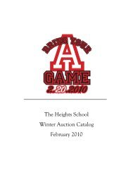 The Heights School Winter Auction Catalog February 2010