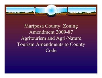 Mariposa Co.Amendments to County Code - UCCE Mariposa County