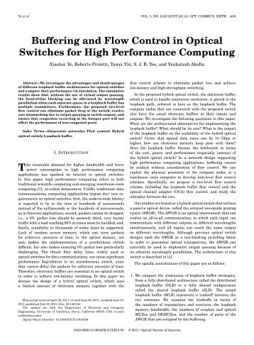Buffering and Flow Control in Optical Switches for ... - Optics InfoBase