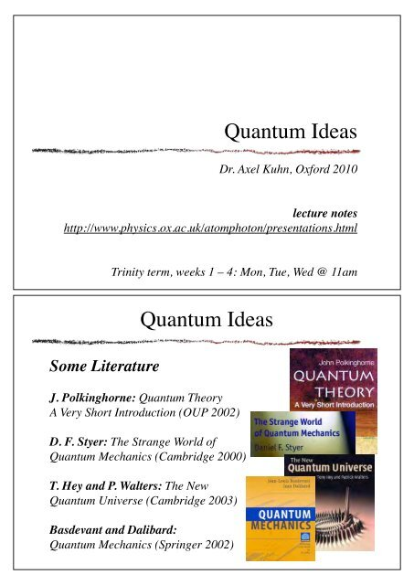 Quantum Ideas lecture notes