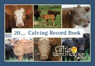 Calving Record Book - Canadian Cattle Identification Agency