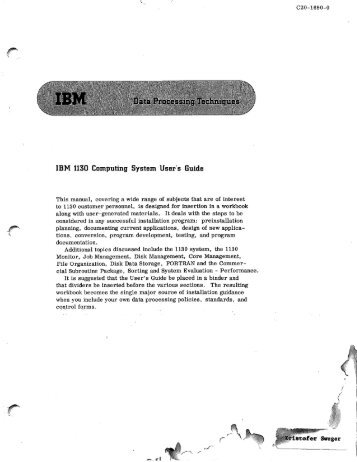 Data Processing Techniques - All about the IBM 1130 Computing ...
