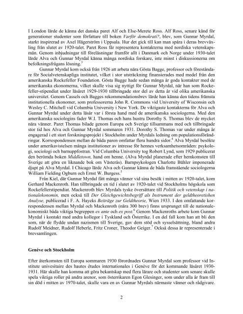 Ett internationellt kontaktnät i Alva och Gunnar Myrdals arkiv ...