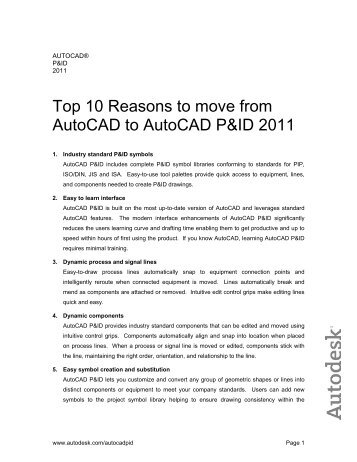 Top 10 Reasons to move from AutoCAD to AutoCAD P&ID ... - Cadline