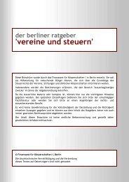 Berliner Ratgebers Vereine und Steuern