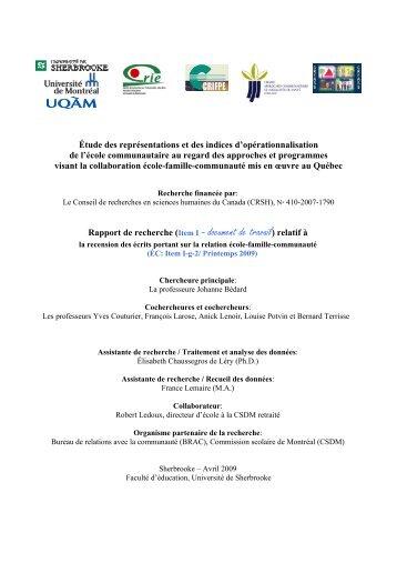 I-g.2 - Centre de recherche sur l'intervention éducative (CRIE)