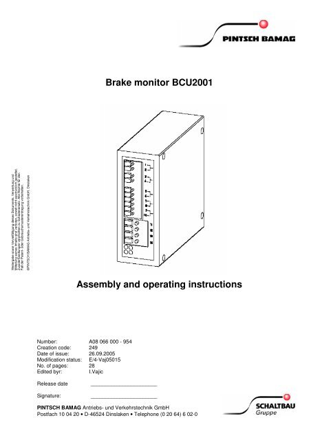 Brake monitor BCU2001 Assembly and operating     - Hertford
