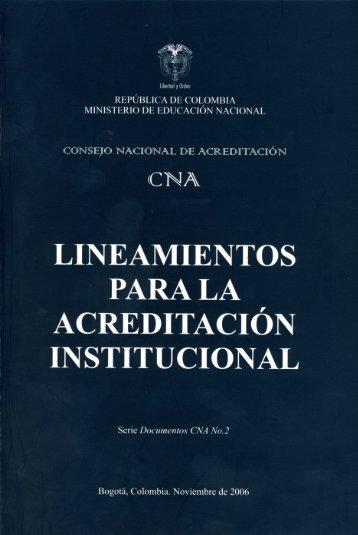 LINEAMIENTOS PARA LA ACREDITACIóN INSTITUCIONAL