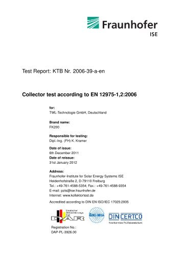 KTB Nr. 2006-39-a-en Collector test according to EN 12975-1,2:2006