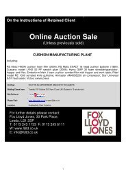 Online Auction Sale - Fox Lloyd Jones