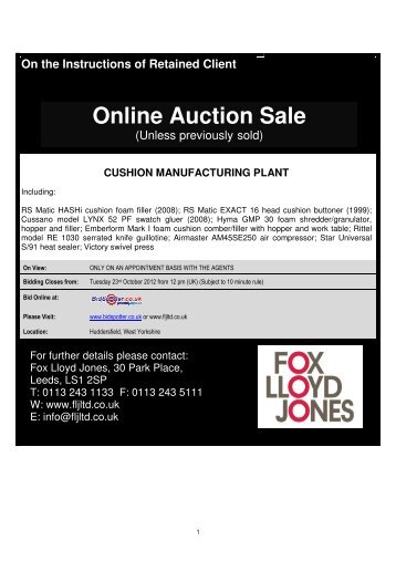 Online Auction Sale - Fox Lloyd Jones