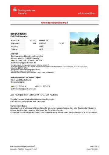 Exposé Online-Nr. 7062053 - Stadtsparkasse Hameln