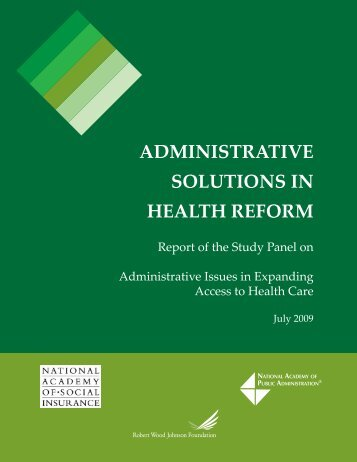 administrative solutions in health reform - National Academy of ...