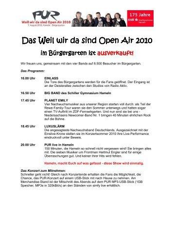 PUR - weil wir da sind Open Air 2010 - Stadtsparkasse Hameln