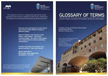 GLOSSARY OF TERMS - Bond University