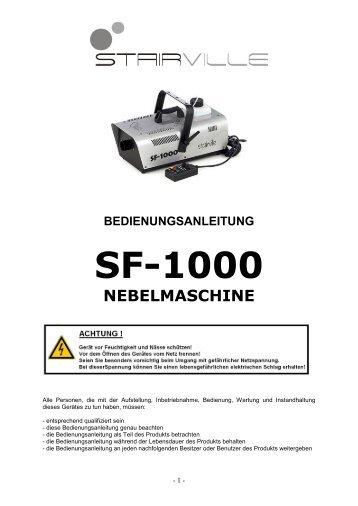 bedienungsanleitung sf-1000 nebelmaschine