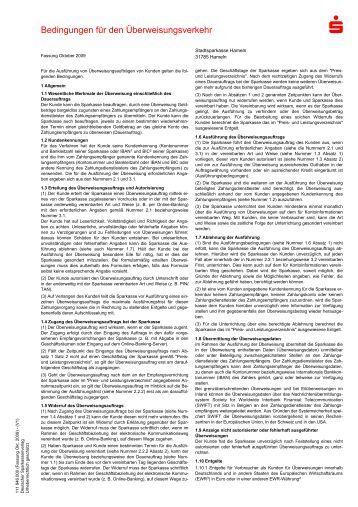 Bedingungen für den Überweisungsverkehr - Stadtsparkasse Hameln