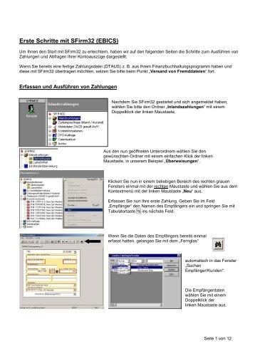 Erste Schritte mit SFirm32 (EBICS)