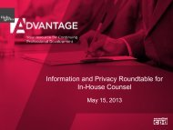 Information and Privacy Roundtable for In-House ... - Hicks Morley
