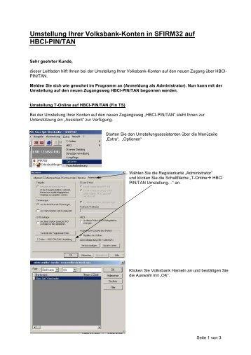Umstellung Ihrer Volksbank-Konten in SFIRM32 auf  HBCI-PIN/TAN