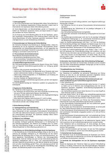 Bedingungen für das Online-Banking - Stadtsparkasse Hameln