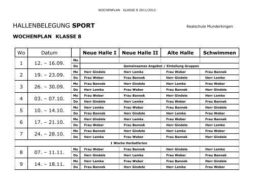Sportplan Klasse 8