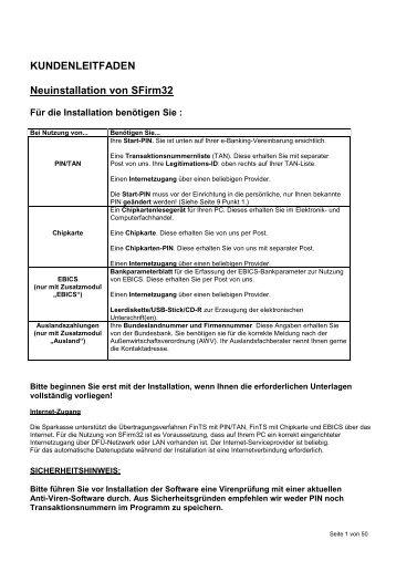 Neuinstallation von SFirm32 - Stadtsparkasse Hameln
