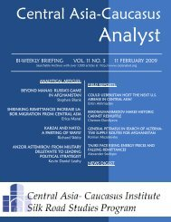 Central Asia-Caucasus - The Central Asia-Caucasus Analyst