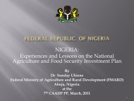 FEDERAL REPUBLIC OF NIGERIA - CAADP