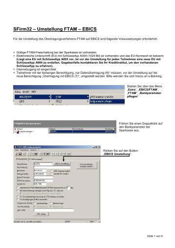 SFirm32 – Umstellung FTAM – EBICS