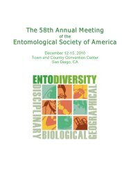 PROgRAM iNFORMATiON - Entomological Society of America
