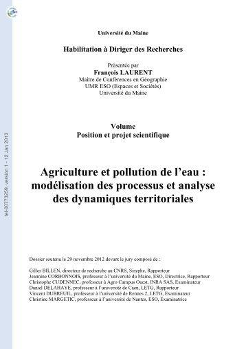 Agriculture et pollution de l'eau: modélisation des processus et ...