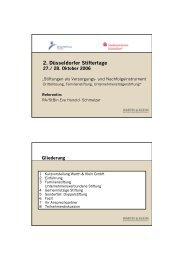 Stiftungen als Versorgungs- und Nachfolgeinstrument