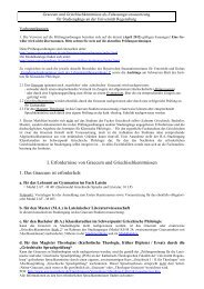 I. Erfordernisse von Graecum und Griechischkenntnissen 1. Das ...