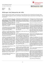 Stiftungen sind Netzwerke der Hilfe - Stadtsparkasse Düsseldorf