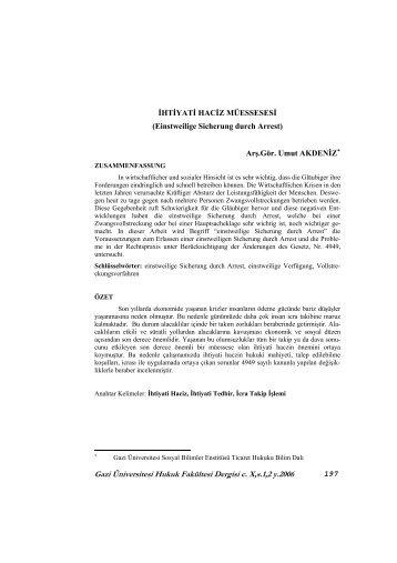 Gazi Üniversitesi Hukuk Fakültesi Dergisi c. X,s.1,2 y.2006