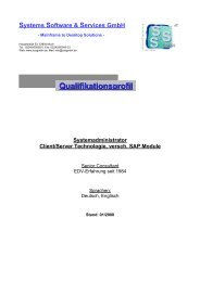 Qualifikationsprofil Systems Software & Services GmbH