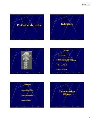 Fluido Cerebrospinal Indicações Características Físicas - Ufersa