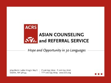 Asian counseling and referral service