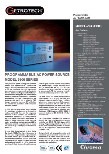 programmable ac power source model 6500 series - Getrotech