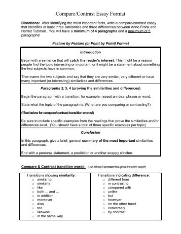 compare and contrast essay outline high school