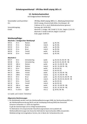 Einladungswettkampf - VfK Blau-Weiß Leipzig 182 e.V. 12 ...