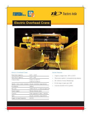 Electric Overhead Crane - til india