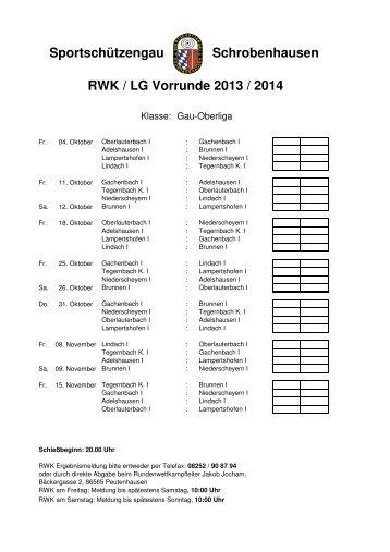 RWK / LG Vorrunde 2013 / 2014 Schrobenhausen Sportschützengau