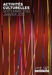 activités culturelles septembre 2012 janvier 2013 - AROP ...