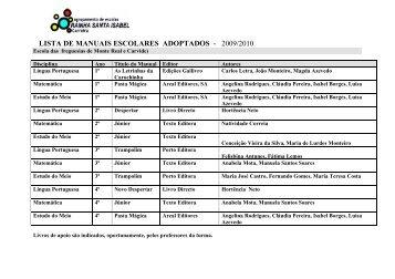 lista de manuais escolares adoptados - 2009/2010 - Agrupamento ...