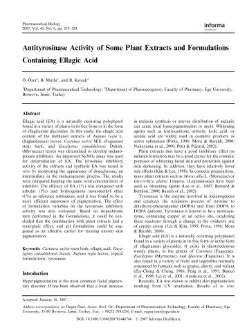 Antityrosinase Activity of Some Plant Extracts and Formulations ...