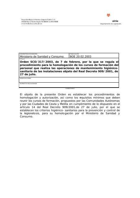 BOE 044 de 20/02/2003 Sec 1 Pag 7017 a. 7019 - Ainia