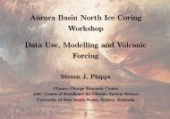 Aurora Basin North Ice Coring Workshop Data Use, Modelling and ...